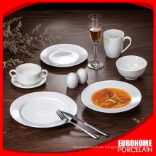 Großhandel, reine weiße Porzellan Dinner Set Geschirr hotel