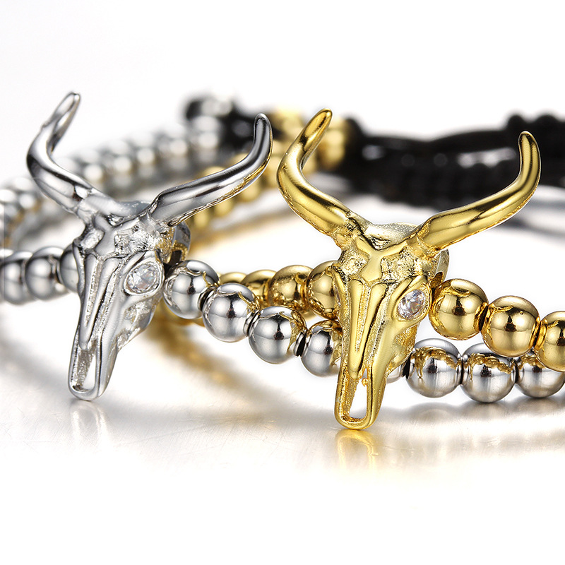 Goat Skull Charm Bead Bracelet for Men