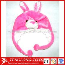 Gran venta ! Lovely felpa de conejo de color rosa animal invierno earflap sombreros