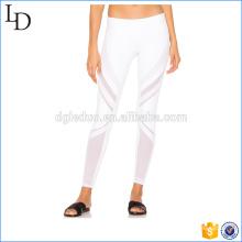 Blanco con malla estilo yoga pantalones de compresión mujeres fitness yoga legging