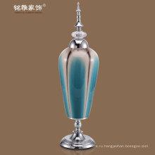 керамические вазы для цветов с металлической крышкой и основанием в голубовато-зеленый цвет по оптовой цене для оптовых
