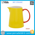High Quality Yellow Ceramic Water Jug with Red Handle