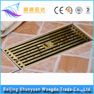 In-stock factory golden brass anti-odor bathroom square floor drain
