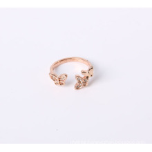Butterfly Design Fashion Jewelry Ring Rose Gold Plated with Rhinestones