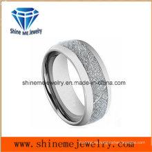 Natural con incrustaciones de plata de carbono de fibra de tungsteno anillo de joyería
