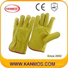 Желтая кожаная кожаная рабочая перчатка безопасности безопасности (12202)