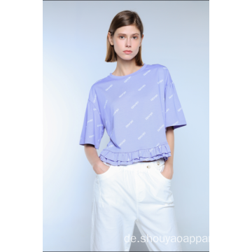 LADIES CROPPED PRINT T-SHIRT MIT RÜSTEN