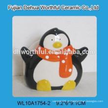 Novo design handpainting penguine cerâmica guardanapo