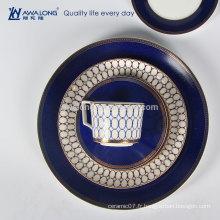 Hot Sale Royal Design Gravé Fine Ceramic Bone China Dinnerware Plates