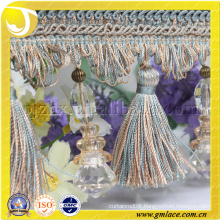 Elegant Polyester Beades Fringed Lace Trim with Shell Pendant