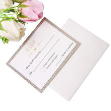25 Stk. Los Gold-Glitter-Karten mit gedruckten + kostenlosen Umschlägen Karton Papier Glitter Glitter Hochzeitseinladung