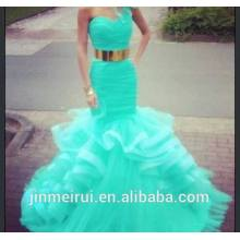 Graceful Prom Gown One Shoulder Sweetheart Bodice With Gold Sash Organza Ruffles Turquoise Prom Dresses E17