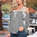 Women′s Crochet Trim Cold-Shoulder Top (T-011)