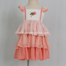 High quality embroidered chiffon fabric ruffle dress
