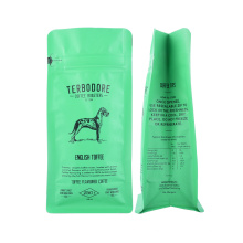 Seal Zipper Matt Print Flat Bottom Block Bottom Bag Standing Plastic Bag for Dog Packaging with Logo Printing