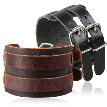 Luxury Jewelry Genuine Cowhide Two Button Brown/Blue /Black Leather Men Bracelet