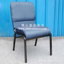 Cadeira de igreja de alta densidade com tecido azul (YC-G38-01)