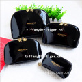 2016 NEW women leather bag custom travel toiletry bag black cosmetic makeup bag