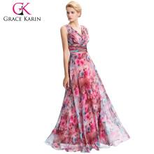 Grace Karin New Sleeveless V-Neck Floral Pattern Chiffon Long Bridesmaid Dress GK000058-1