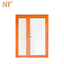 Tempered glass home arch mahogany double entry door