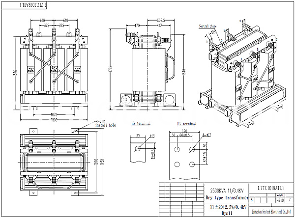 2500kva Dry Type Transformer Drawing