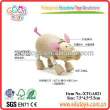 Wooden Toy Animal - Toy Pink Pig