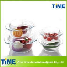 Transparent Round Heat Resistant Glass Casserole