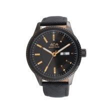 Relógio de aço inoxidável do quartzo do OEM da venda por atacado do retalho da faixa do couro genuíno do relógio