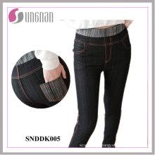 Leggings falsos de los pantalones vaqueros de la alta cintura de las mujeres de moda (SNDDK005)