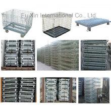 Almacén apilable de la plataforma de la malla de alambre de acero del almacén / jaula de almacenamiento