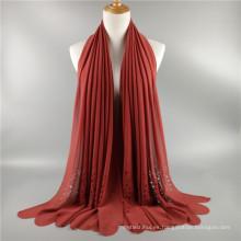 Precio de fábrica de la venta caliente hueco tallado láser corte burbuja llana gasa bufanda chal de las mujeres al por mayor