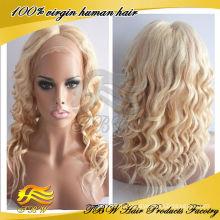 ОКВО естественные свободные вьющиеся #613/#27 подчеркнул, блондинка человеческих волос полный парик шнурка