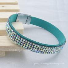 Bracelet en strass Chaton bracelet en cristal chromé avec boucle en aimant