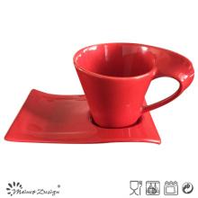 11oz Ceramic Red Mug with Tray