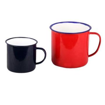 Blue Rimmed 5/6/7/8/9/10/11 / 12mm Crème émail Mug Tasse