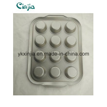 12 taza Muffin de acero al carbono Pastel antiadherente Bakeware pan de hornear