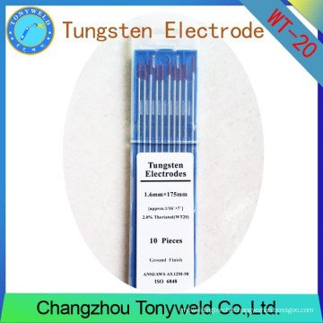 WT-20 2% Electrodes de tungstène TIG de 1.6mm 1/16 '' Thoriated