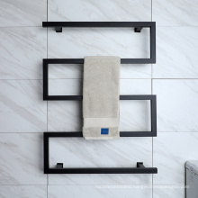 Matte Black stainless steel electric heated towel rail with wall mounted accessory