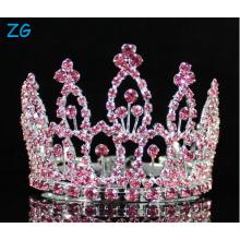 Mini Pink Rhinestone Full Hair Crown Tiara Party Bridal Jewelry Prom