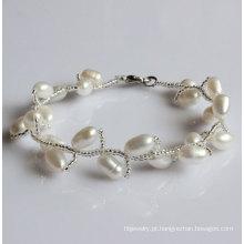 Moda branca pérola de água doce natural pulseira (EB1515-1)