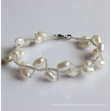 Fashion White Natural Freshwater Pearl Bracelet (EB1515-1)