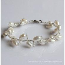 Pulseira de pérolas de água doce natural branca de moda (EB1515-1)