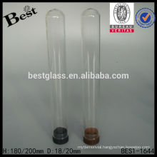D18/20mm clear borosilicate glass tube with plastic cap, empty test tube for sale, round glass test tube with pp cap