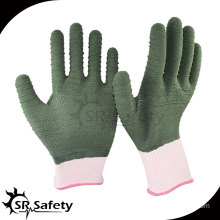 SRSAFETY 13G latex full coated safety working gloves latex foam glove,green gloves