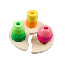 Wooden Triple Stacking Block Toy for Kids and Children