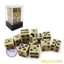 Bescon Old Looking Ancient Bone Dice D6 16mm 12pcs Set, 16mm Die Sided Sided (12) Block of Stone Dice