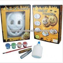 Máscara de calabaza de Halloween, pintura máscara hecha a mano diy, máscara de pintura de acuarela