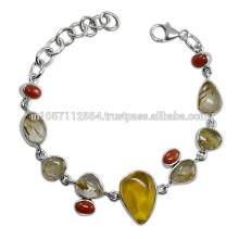 Rutilated Cuarzo Amber Coral Gemstone & 925 Sterling Silver Designer Party Wear Pulsera