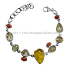 Rutilated Quartz Amber Coral Gemstone & 925 Sterling Silver Designer Party Wear Bracelet