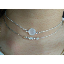 Double Silver Plated Choker with Gemstone Pendant